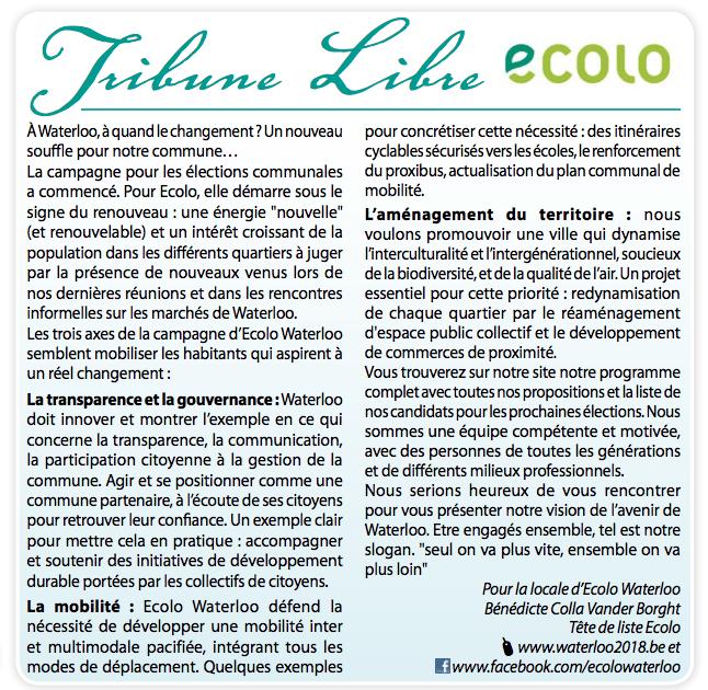 Tribune Libre Ecolo – 21 Juin 2018